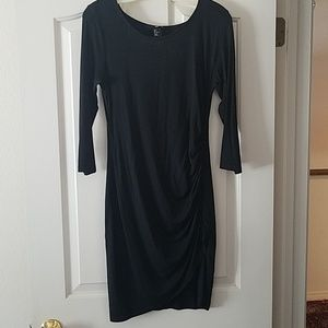 H&M Black long sleeve ruched dress.